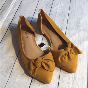 Torrid Yellow Mustard Bow Suede Detailed Flats